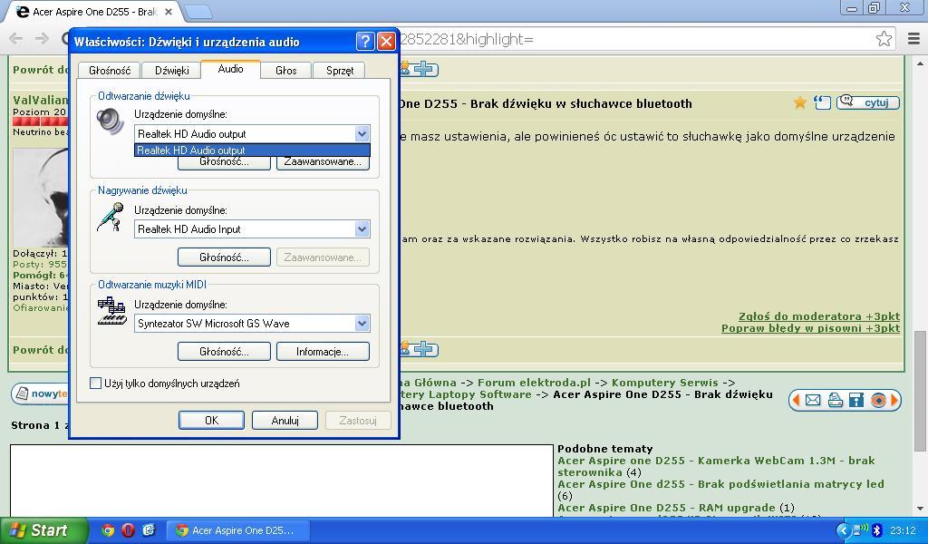 Acer Aspire One D255 - Brak d�wi�ku w s�uchawce bluetooth