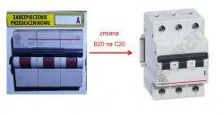 wyłącznik nadprądowy - zabezpieczenie przedlicznikowe - wymiana B20 na C20