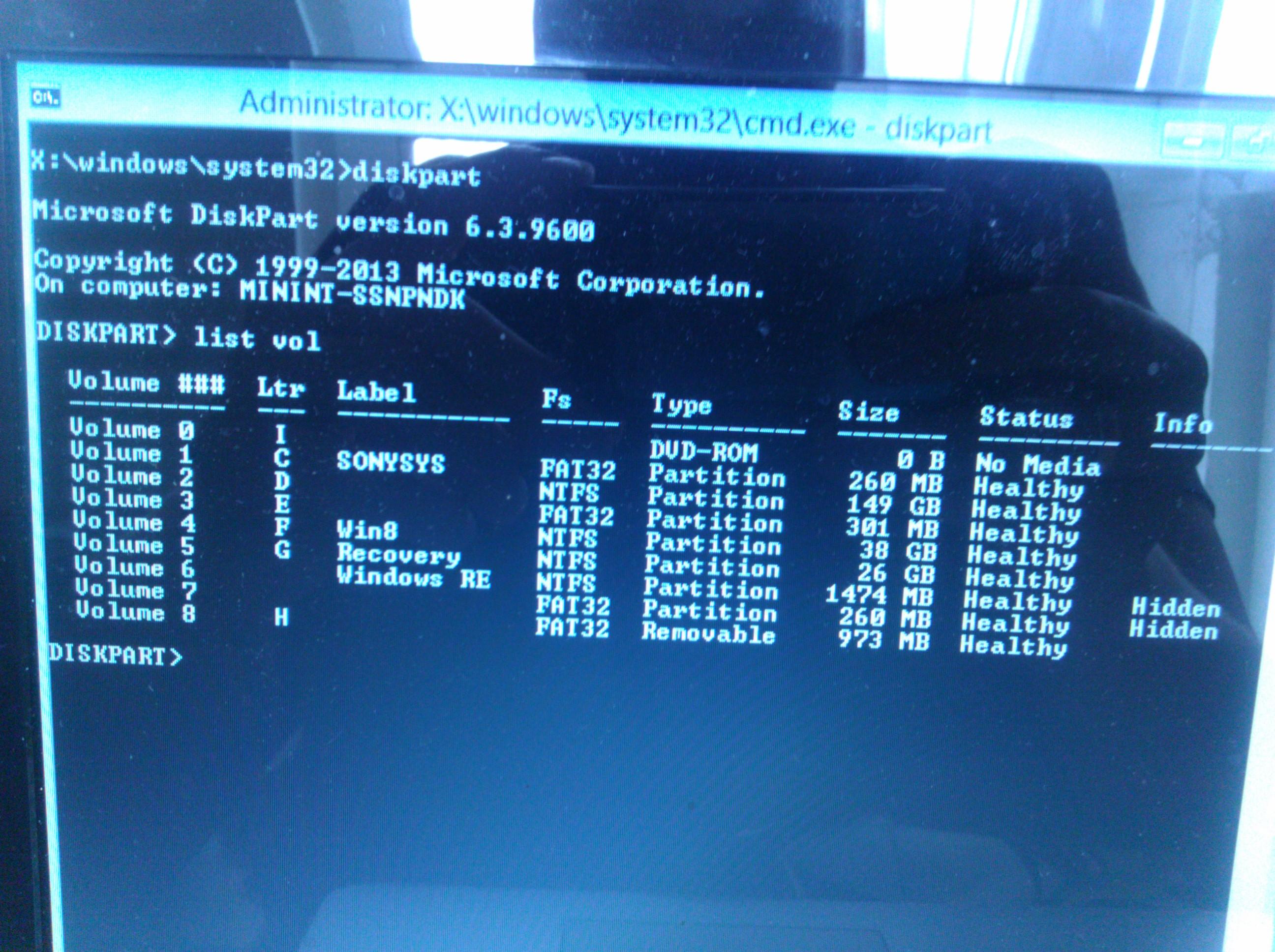Sony SVF152A29M - Pomieszane partycje, brak bootowania recovery i systemu