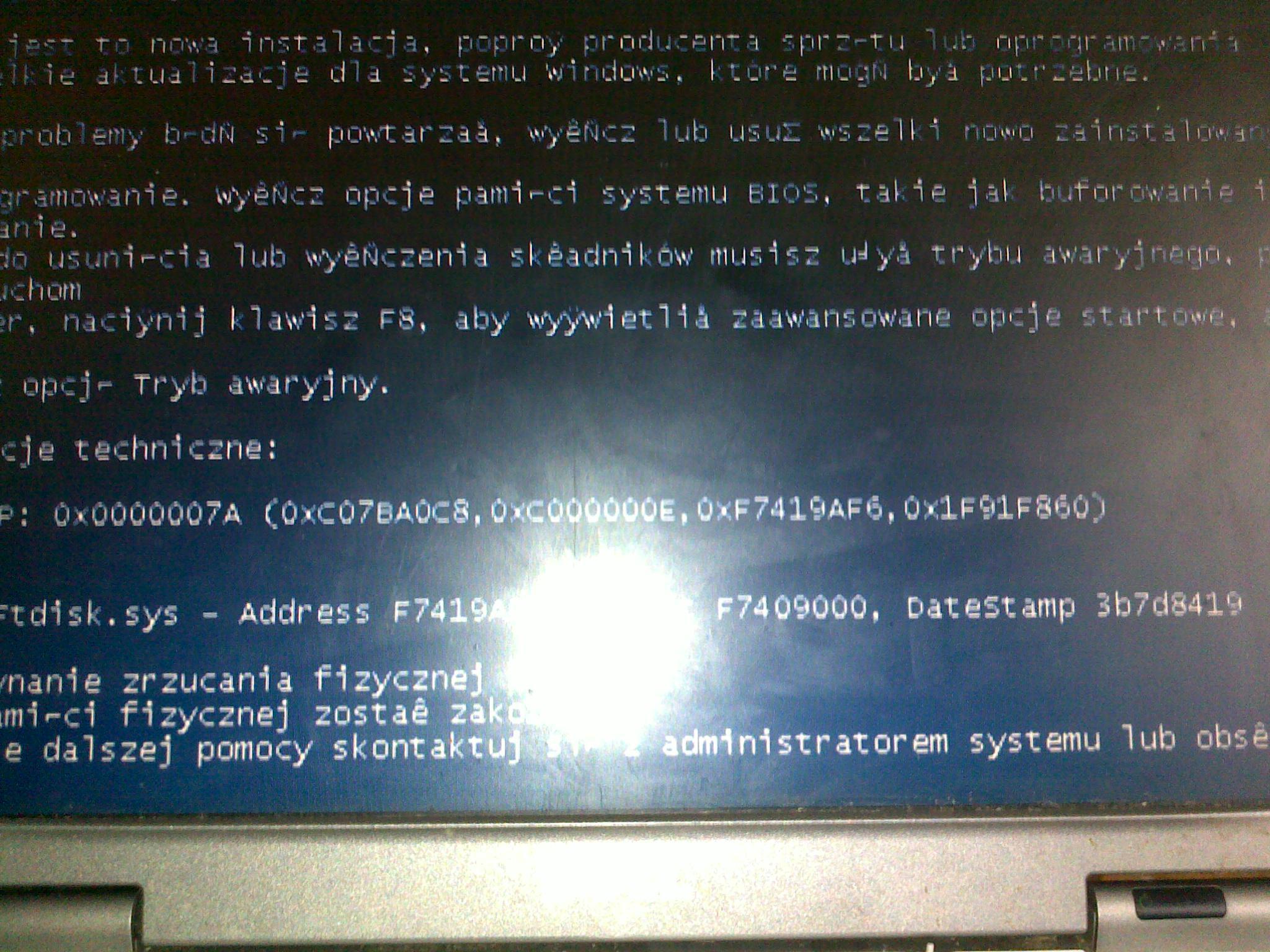 dell latitude   D610  blad przy  instalacji systemu