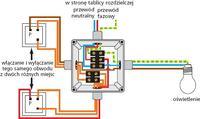 Jak podłączyć - Podłączenie pięciu lamp i wyłączników schodowych