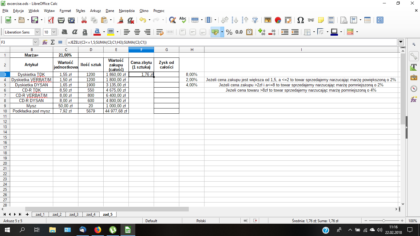 several conditions in one cell with the function if