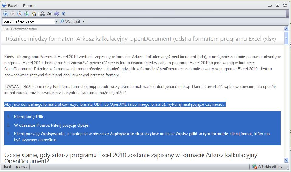 Office 2010. - Zmiana formatu dokument�w z Open Document na XML.