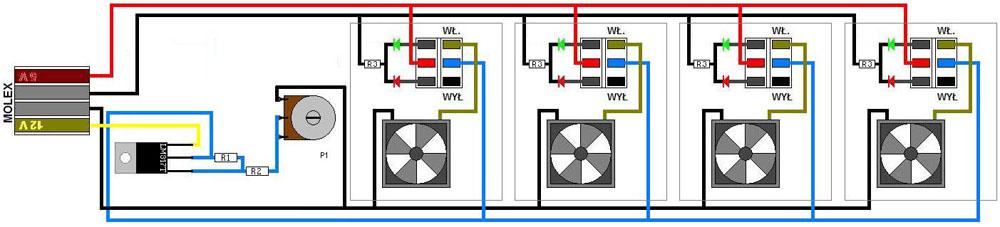 Regulacja 4-ech wentylatorów do PC+diody - Potrzebna pomoc.