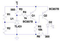 Prosty sygnalizator roz�adowania przy 3V na TL431