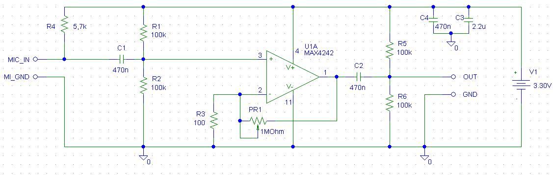 MAX4242 - Wzmacniacz mikrofowowy szumi - mikrofon pojemno�ciowy