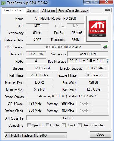 ACER Aspire 5720zg podmieniona grafika z GF na ATI. Nie w��cza si� ekran.