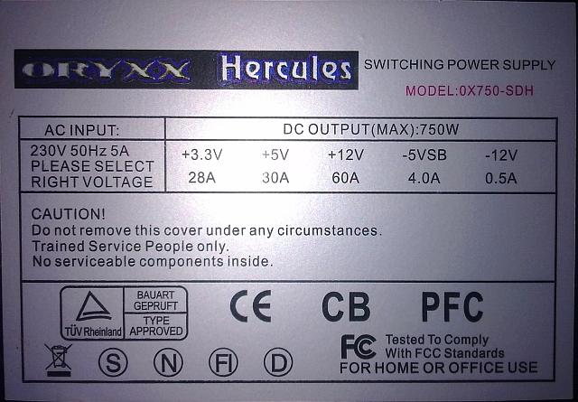 Oryxx Hercules model: 0X750-SDH, uszkodzony, PFC brak...