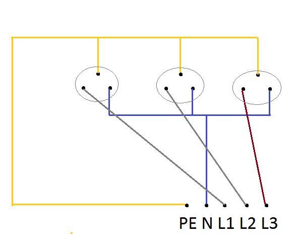 Rozdzia� gniazda tr�fazowego 3x400v na trzy jednofazowe 230V