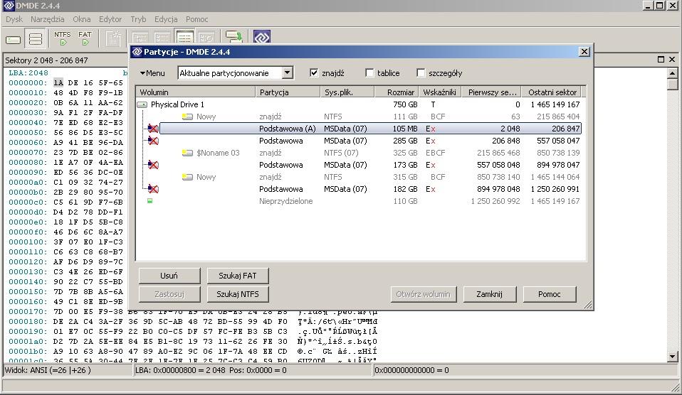 WD 75000BPKT - Uszkodzona tablica partycji