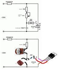 Najprostszy regulator jasności żarówki na triaku BTB16A/600V