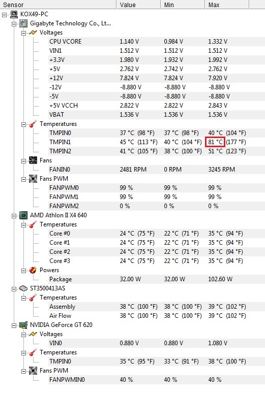PC - Wysoka temperatura p�yty g��wnej