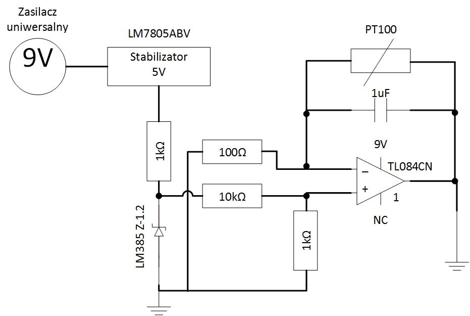 Przetwornik pomiarowy 0-5V dla PT100