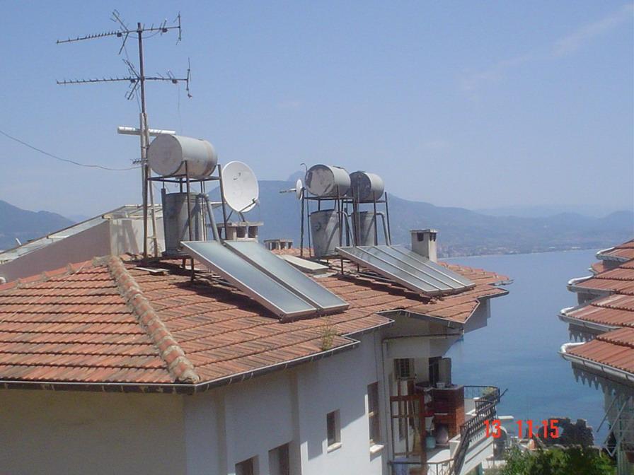 Ogrzewanie dachowe. Podgrzewanie wody za pomocą energii słonecznej.