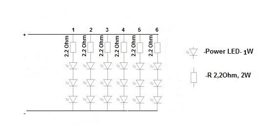 Oświetlenie Power Led Dymią Rezystory Elektrodapl
