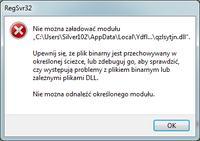 Windows7 (RegSvr32) - nie można załadować modułu