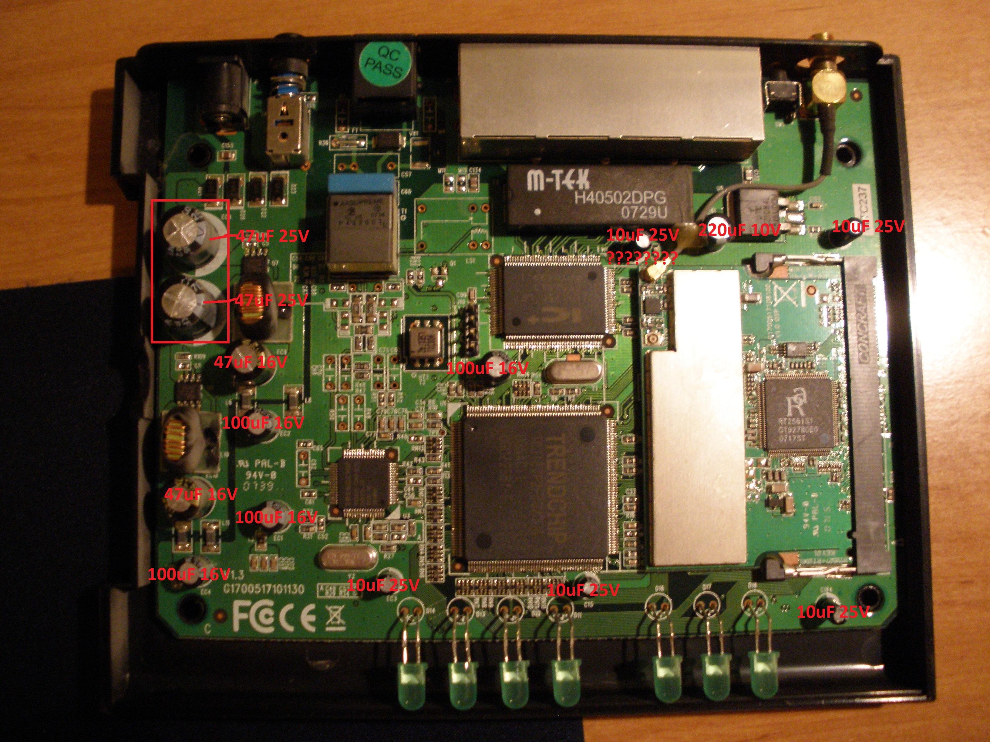 Wymiana kondensator�w w routerze Pentagram Cerberus P 6337-4A