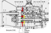 Ursus C-330M - Rozkręcony dolny wał w skrzyni biegów