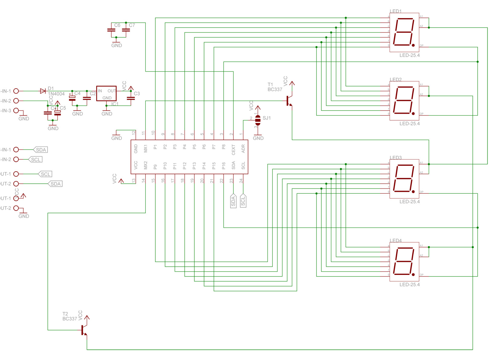 Atmega8/ Bascom - SAA1064 4 x 7 segment dynamicznie