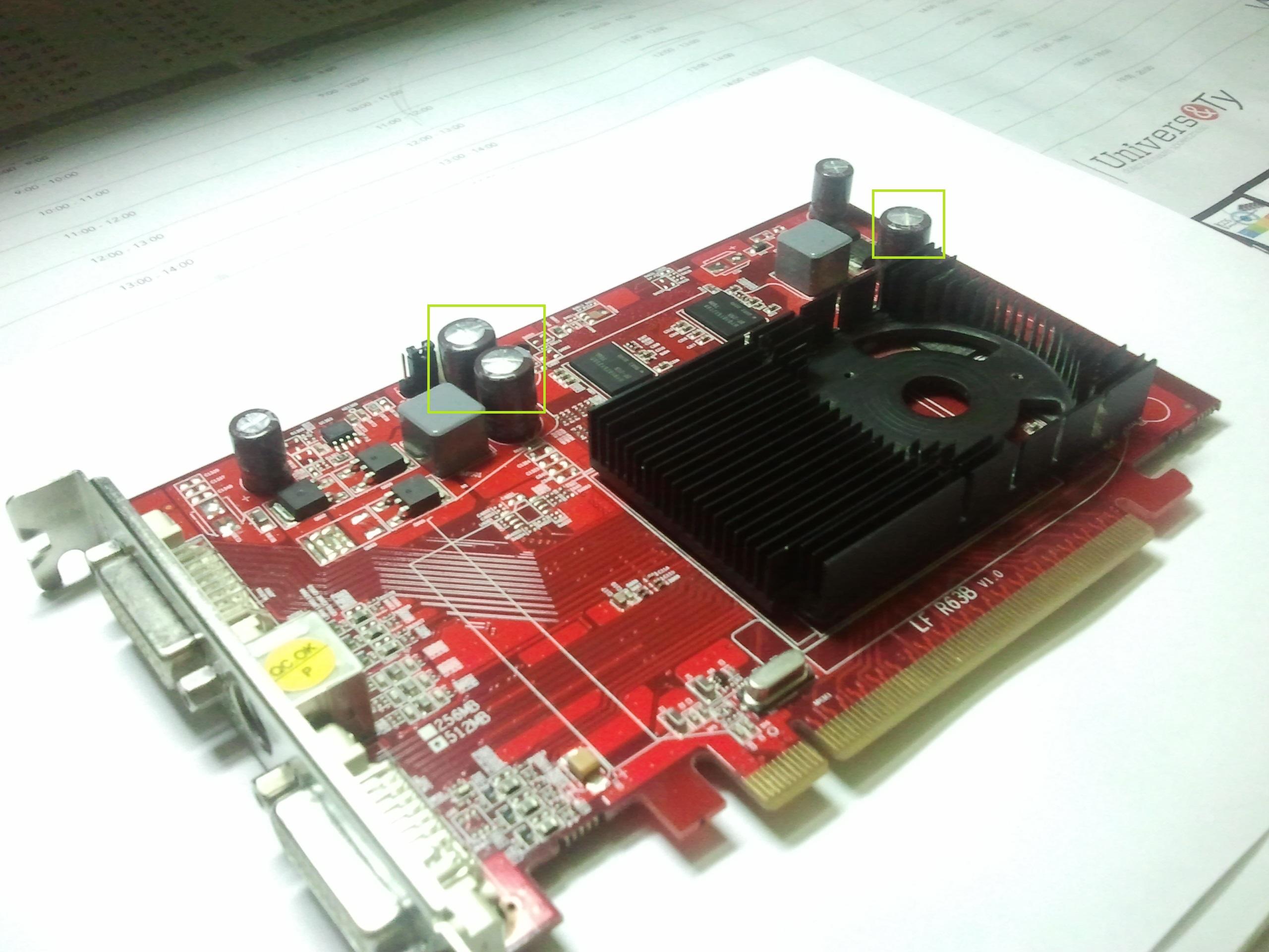 AMD/ATI  Radeon HD2600 PRO - uszkodzone kondensatory sekcji zasilania