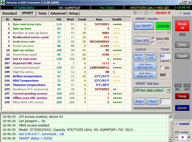 ST3500320AS - Diagnostyka dysku - bad sectory [wybi�rcze zerowanie?]