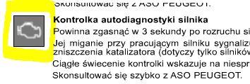 Peugeot 607 - Kontrolka autodiagnostyki silnika