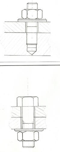 wymiarowanie przedmiotów - Śruba z łbem sześciokątnym, śruba dwustronna