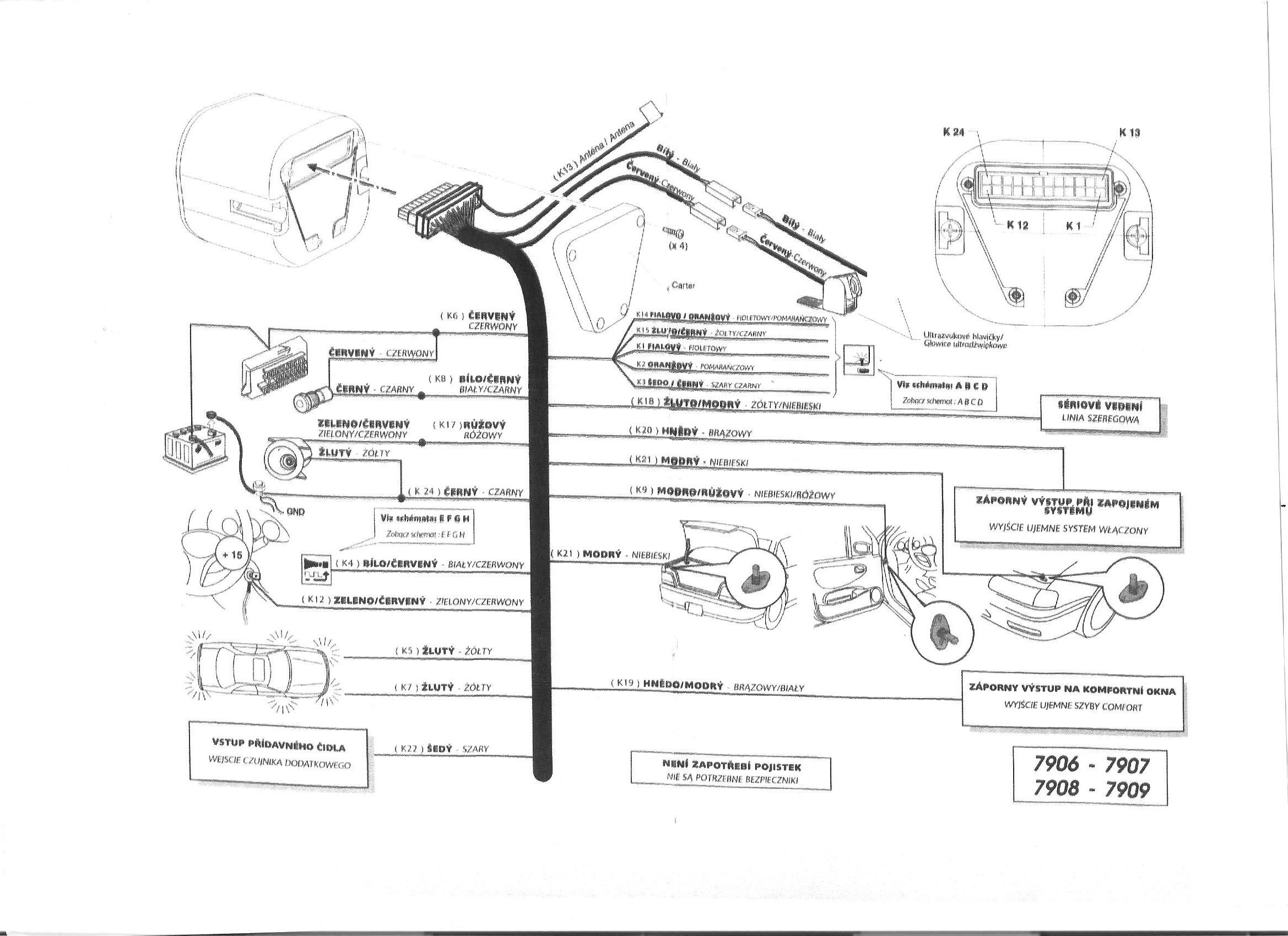 Renault Clio II, alarm COBRA 7905, opis schematu alarmu