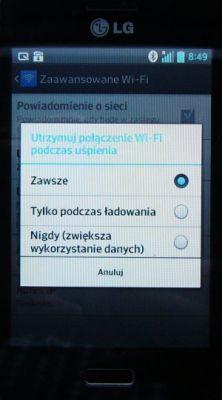 LG E610 Blokada Internetu przez Wi-Fi po blokadzie ekranu