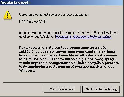 Kamerka 4worlds z200 webcam nie jest widziana przez komputer !