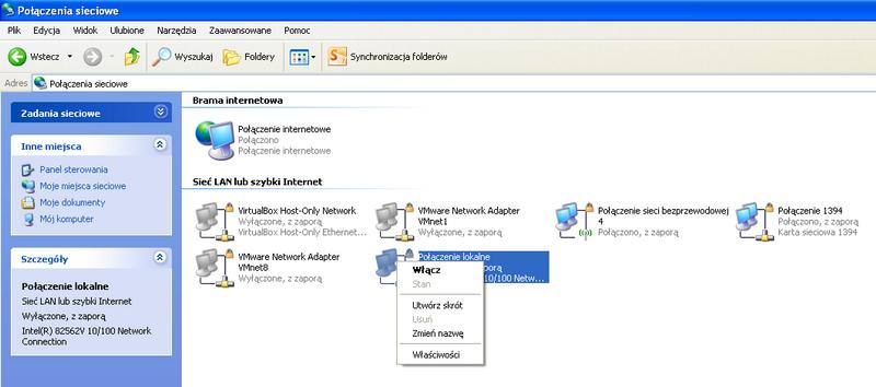 windows xp sp2 - Brak po��czenia lokalnego kabel sieciowy jest od�aczony.