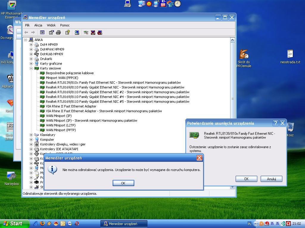 usuwanie sterownika nieistniejącej karty sieciowej