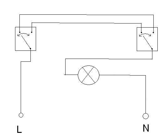 schemat podłączenia jednej żarówki na dwa wyłączniki