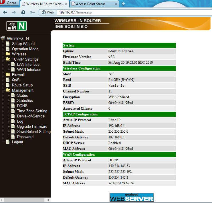 WINSTARS WS-WN513N1U - Zmiana adresu MAC, brak dost�pu do internetu