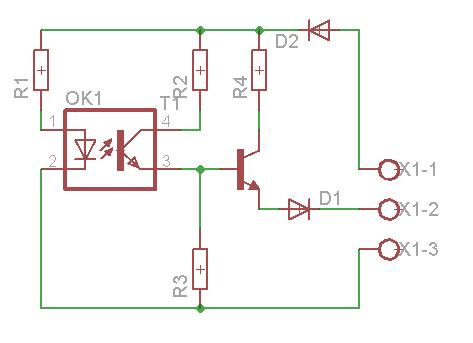 Transoptor LTH-301A dołączony do sterownika PLC zamiast przycisku