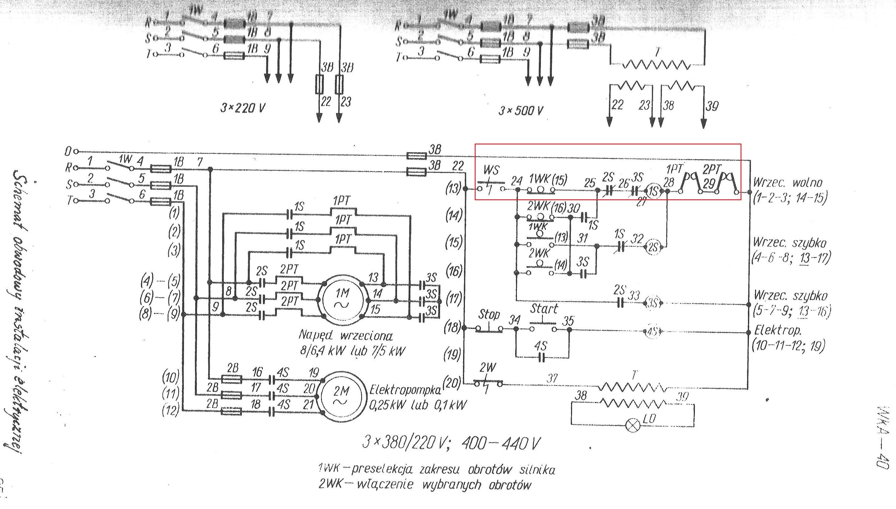 Wiertarka WKA 40, za��czenie silnika nap�dowego