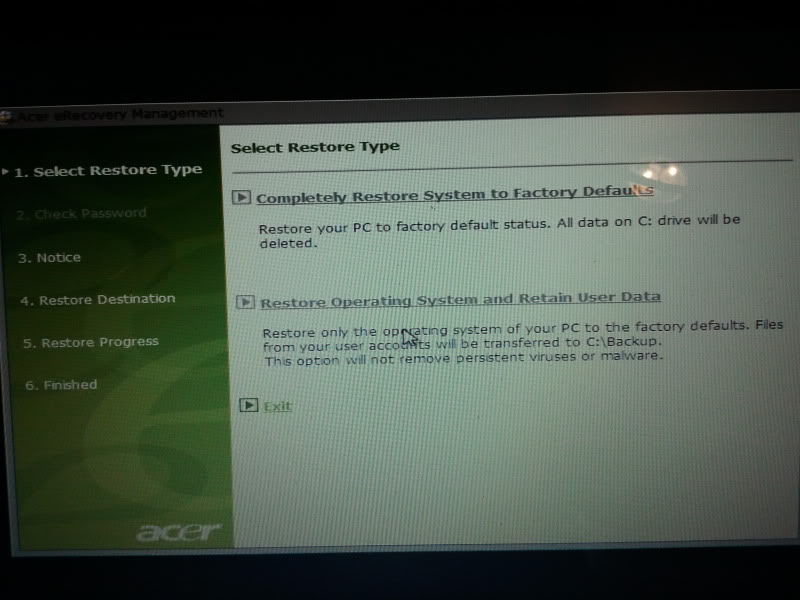 Acer - Acer eRecovery menagement