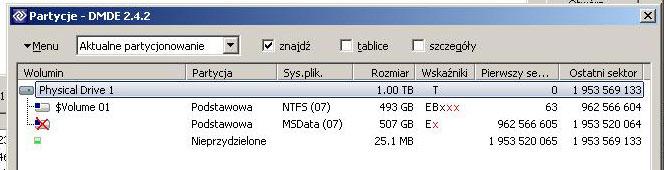 Odzyskiwanie danych.kopia posektorowa.system plik�w MSData.