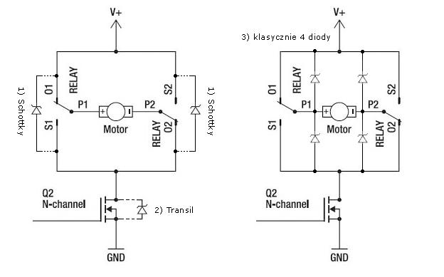 Dob�r diody (transil) do silnika DC
