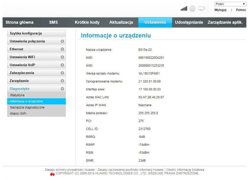 Router Huawei B315s-22 - Po aktualizacji stracił połączenie z internetem.