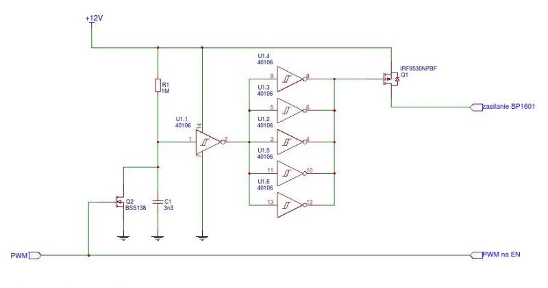 LED driver BP1601 - przy sterowaniu PWM nie wyłącza diody