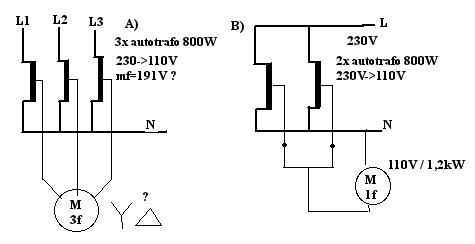 3 fazy z 3x autotransformator 230-110v lub zwi�kszenie mocy