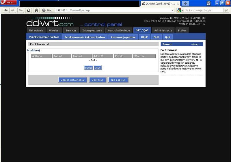 Przekierowanie port�w Cisco WRT54GH