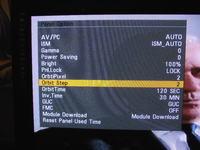 Plazma LG42PG3000, bialy obraz i kod na ekranie.