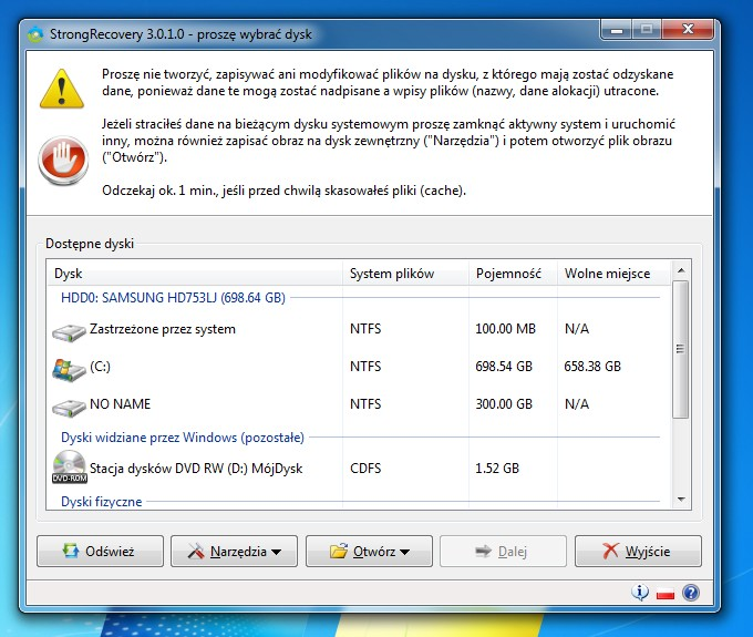 Nieprzydzielony dysk SATA Samsung 750GB w Win 7