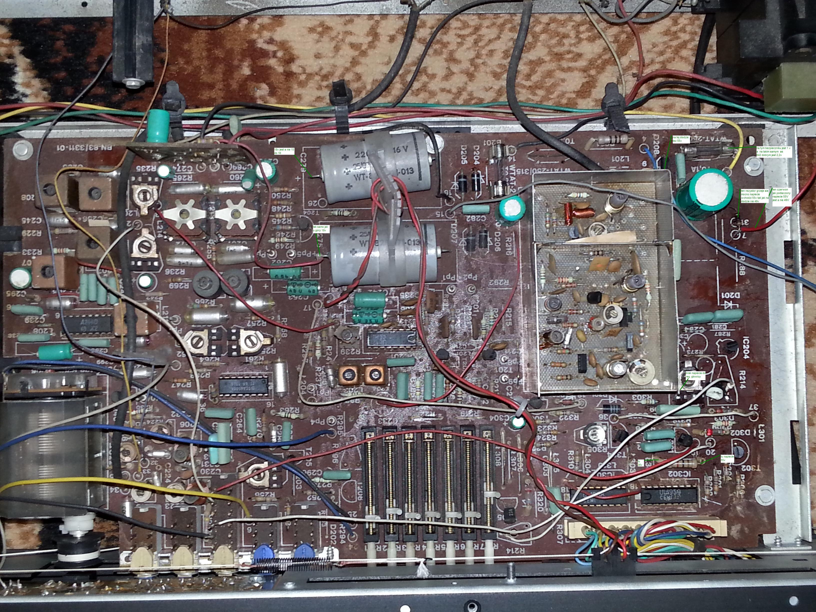 Diora AS-642 - brak napiec na glowice FM nie dziala AM dziala
