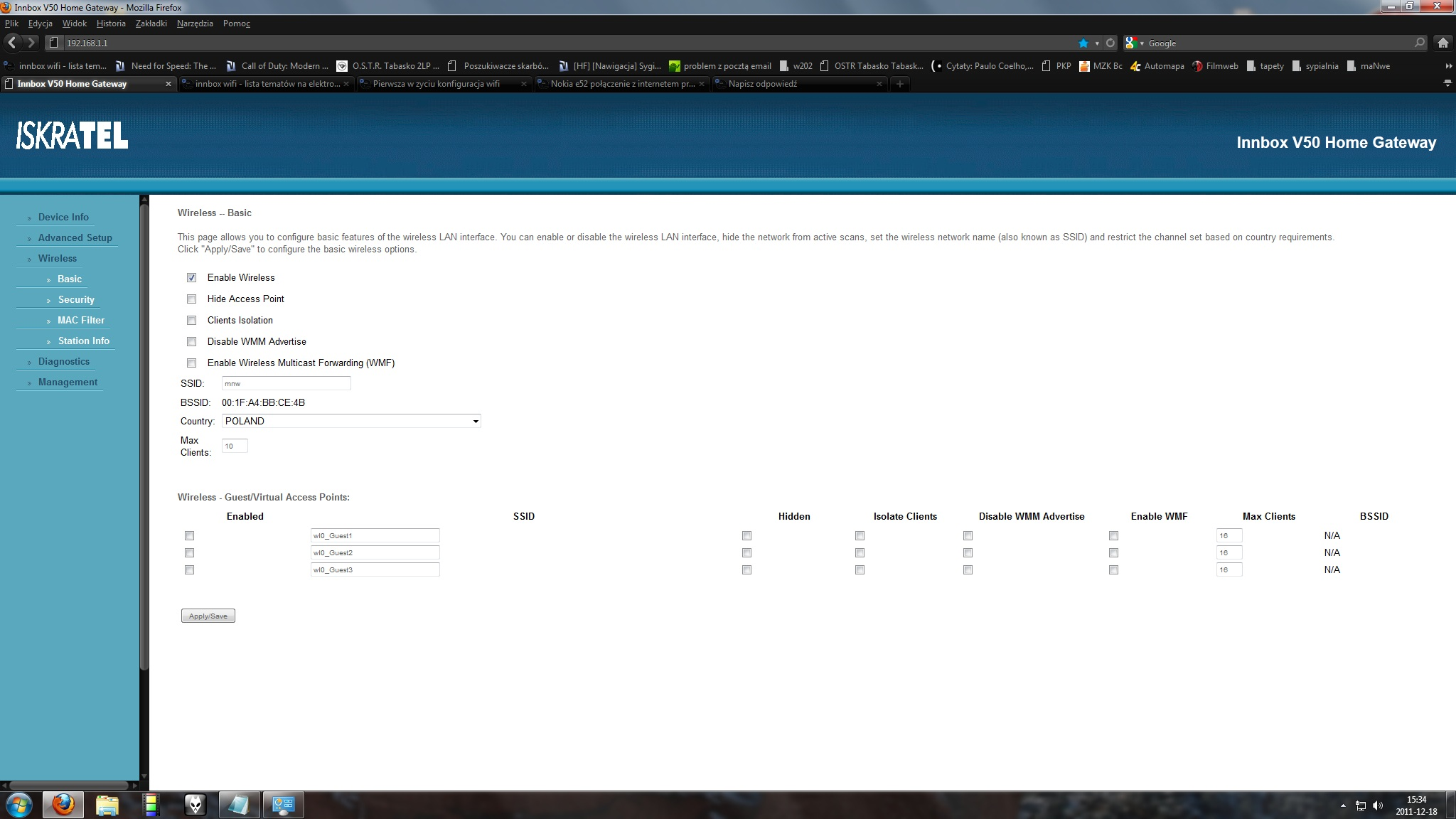 Modemo-ruter innbox v50 Dialog