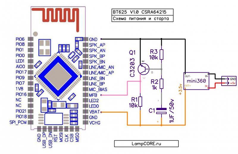 BTM625 / CSRA64215 Bluetooth Audio Module - uruchomienie