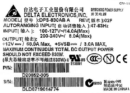 Delta model: DPS-830AB A - Zasilacz nie generuje +5VSB