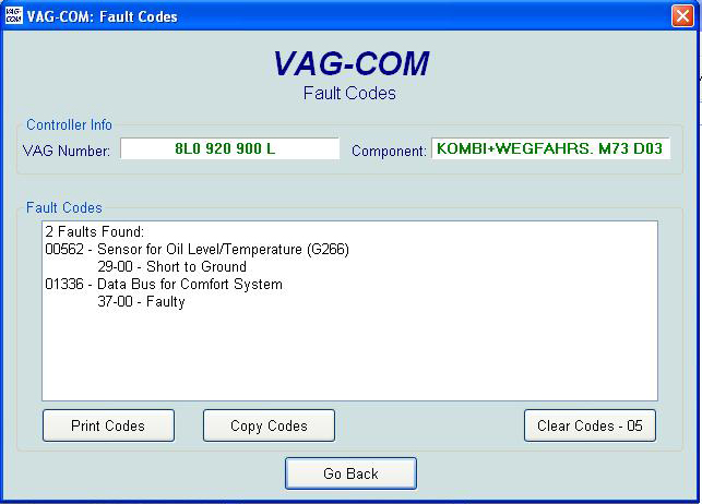 Audi A3 8L 2002  - kontrolka Sensor OIL